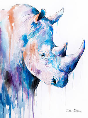 Rhinoceros Painting - Blue Rhino by Slavi Aladjova