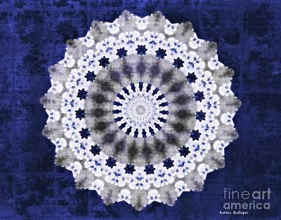 Blue Digital Art - Blue Ribbon Mandala by Sandra Gallegos