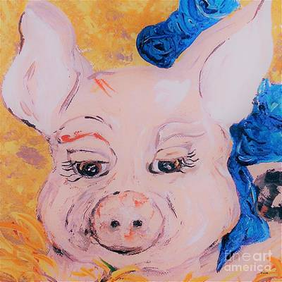 Rights Managed Images - Blue Ribbon Pig Royalty-Free Image by Eloise Schneider Mote