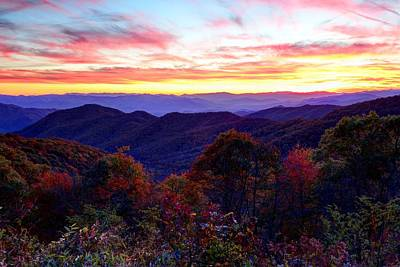 Photograph - Blue Ridge Autumn Sunset by Carol Montoya