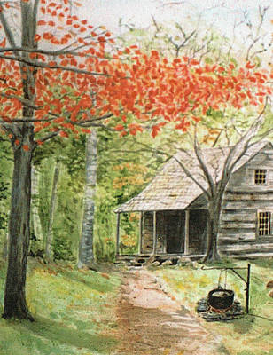 Blue Ridge Cabin Art Print by Christine Lathrop