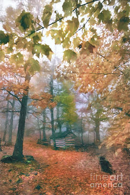 Blue Ridge Cabin In Foggy Autumn Ap Art Print by Dan Carmichael