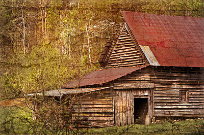 Blue Ridge Mountain Barn Print by Debra and Dave Vanderlaan
