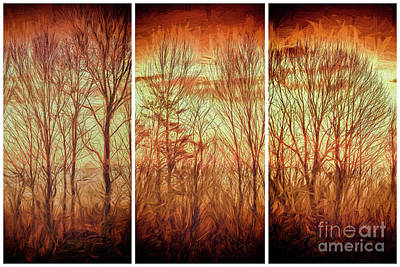 Groundhog Digital Art - Blue Ridge Mountain Winter Trees At Sunrise Fx by Dan Carmichael