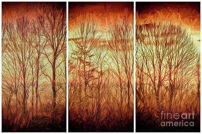 Digital Art - Blue Ridge Mountain Winter Trees At Sunrise Fx by Dan Carmichael