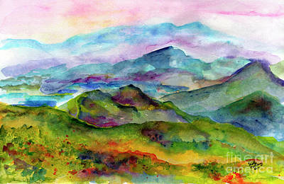 Blue Ridge Mountains Georgia Landscape  Watercolor  Art Print