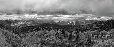 Photograph - Blue Ridge Mountains Panorama In Bw by Dan Carmichael