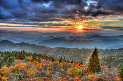 Blue Ridge Mountains Sunset Art Print by Mary Anne Baker