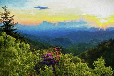 Photograph - Blue Ridge Parkway And Rhododendron Painting by Carol Montoya
