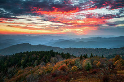Asheville Wall Art - Photograph - Blue Ridge Parkway Autumn Sunset Scenic Landscape Asheville Nc by Dave Allen
