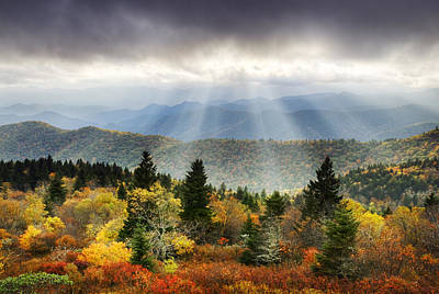 Autumn Art Photograph - Blue Ridge Parkway Light Rays - Enlightenment by Dave Allen