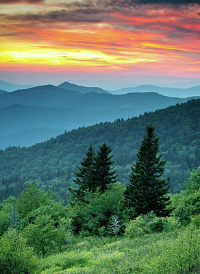 Blue Ridge Parkway Nc Landscape - Fire In The Mountains Art Print by Dave Allen
