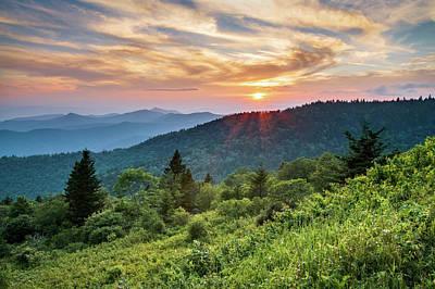 Blue Ridge Parkway Nc Sunset - North Carolina Mountains Landscape Art Print by Dave Allen