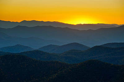 Blue Ridge Parkway Sunset Nc - Afterglow Print by Dave Allen