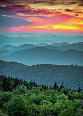 Vintage Pink Cadillac - Blue Ridge Parkway Sunset - The Great Blue Yonder by Dave Allen