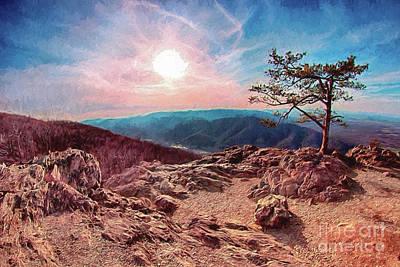 Art Print featuring the digital art Blue Ridge Rocky Hilltop And Tree At Sunset Ap by Dan Carmichael