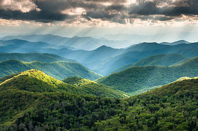 Lush Photograph - Blue Ridge Southern Appalachian Mountain Light Show by Mark VanDyke