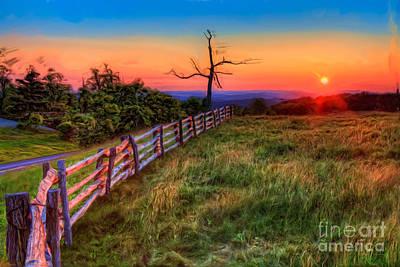 Blue Ridge Parkway Painting - Blue Ridge Sunrise At Doughton II by Dan Carmichael