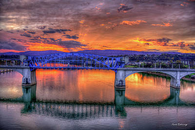 Photograph - Blue Ridge Sunset Chief John Ross Bridge Chattanooga Tennessee Art by Reid Callaway