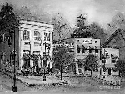 Painting - Blue Ridge Town In Bw by Gretchen Allen