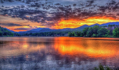 Blue Ridges Lake Junaluska Sunset Great Smoky Mountains Art Art Print by Reid Callaway