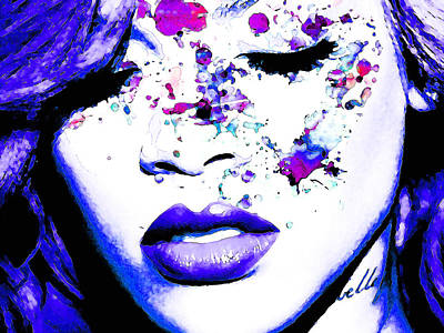 Rihanna Digital Art - Blue Rihanna by Alex Antoine