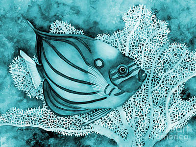 Abstract Works - Blue Ring Angelfish on Blue by Hailey E Herrera
