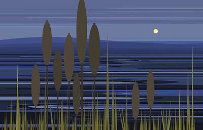 Digital Art - Blue Ripples - Cattails At The Lake by Val Arie