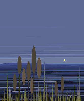 Digital Art - Blue Ripples With Cattails by Val Arie