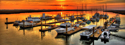 Best Ocean Photograph - Blue River Marina Sunrise Panorama Art by Reid Callaway