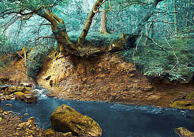 Red Leaf Digital Art - Blue River by Svetlana Sewell