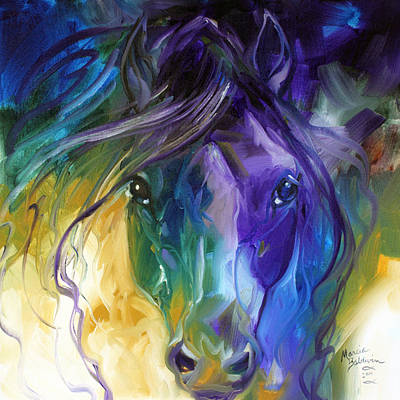 Animals Paintings - Blue Roan Abstract by Marcia Baldwin