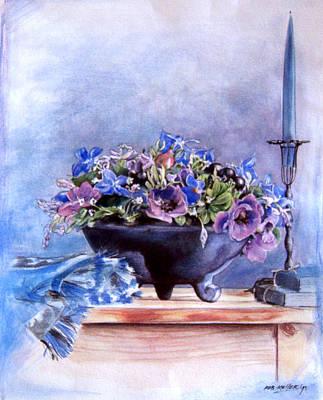 Flower Still Life Mixed Media - Blue by Robert Keller