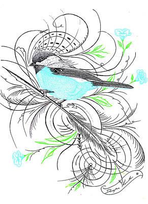 Hand Made Mixed Media - Blue Robin by Dwayne  Hamilton