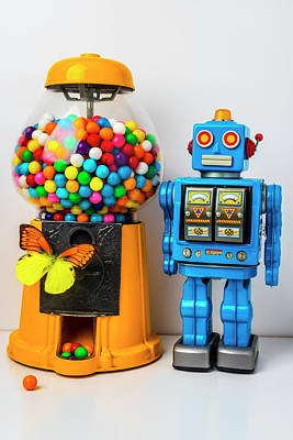 Photograph - Blue Robot And Bubblegum Machine by Garry Gay