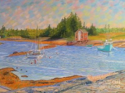 Pastel - Blue Rocks ,nova Scotia by Rae  Smith PAC