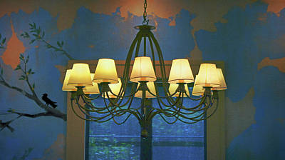 Photograph - Blue Room - Chandelier by Nikolyn McDonald