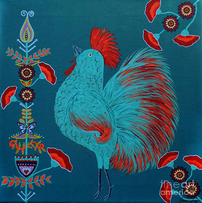 Painting - Blue Rooster Folk Art by Jean Fry