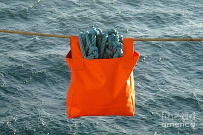 Blue Rope In Orange Bag Art Print by Randall Weidner