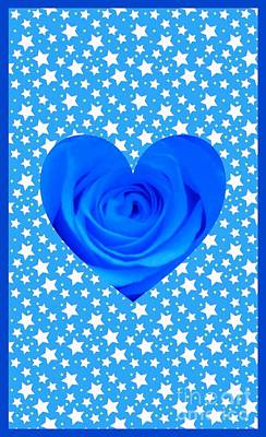 Mixed Media - Blue Rose Design 2 by Joan-Violet Stretch