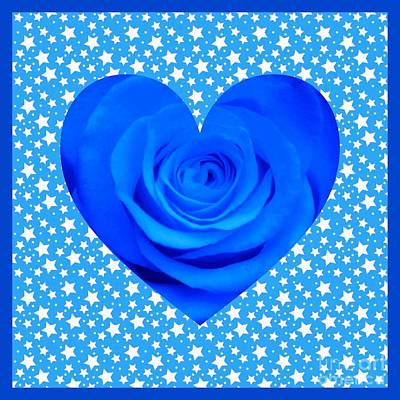 Mixed Media - Blue Rose Heart Design by Joan-Violet Stretch