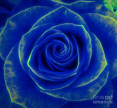 Mixed Media - Blue Rose Macro Glow In The Dark Effect by Rose Santuci-Sofranko