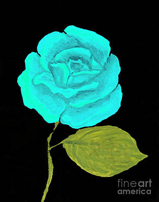 Painting - Blue Rose, Oil Painting by Irina Afonskaya