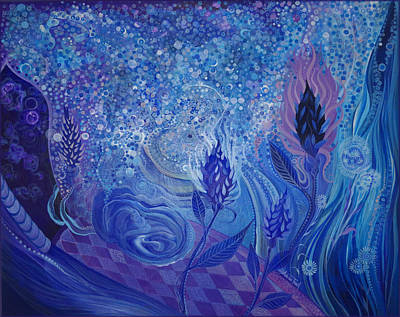 Painting - Blue Rosebud Ballroom by Adria Trail