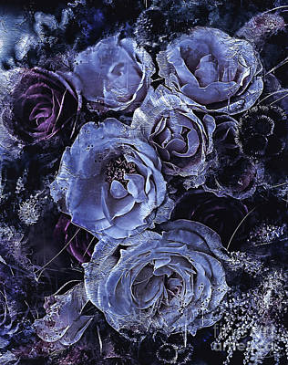 Mixed Media - Blue Roses Art by Shanina Conway