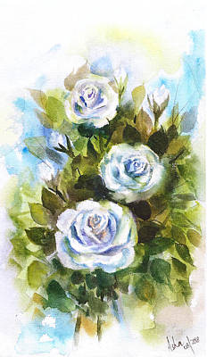 Painting - Blue Roses by Asha Sudhaker Shenoy