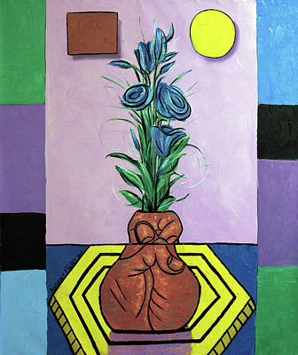 Battery Painting - Blue Roses In A Hand Painted Vase by Anthony Falbo