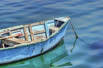 Blue Rowboat At Port San Luis 2 Art Print by Nikolyn McDonald