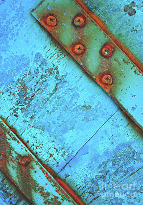 Blue Rusty Boat Detail Art Print by Lyn Randle