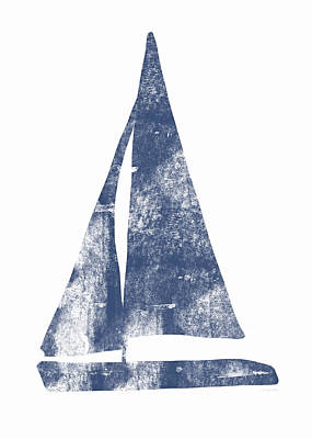 Blue Sail Boat- Art By Linda Woods Art Print